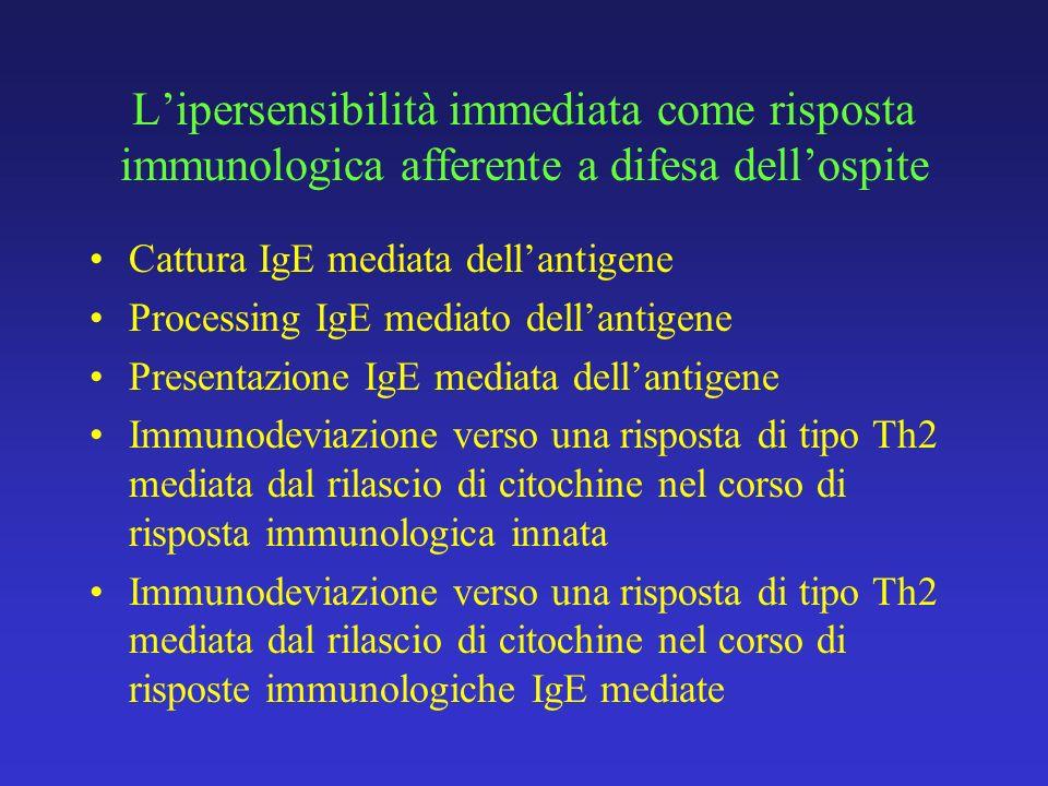 L'ipersensibilità immediata come risposta immunologica afferente a difesa dell'ospite