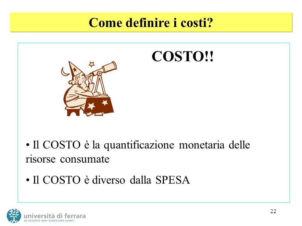 COSTO!! Come definire i costi
