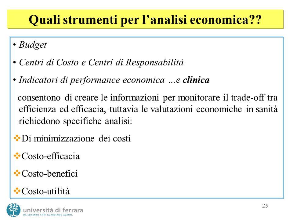 Quali strumenti per l'analisi economica