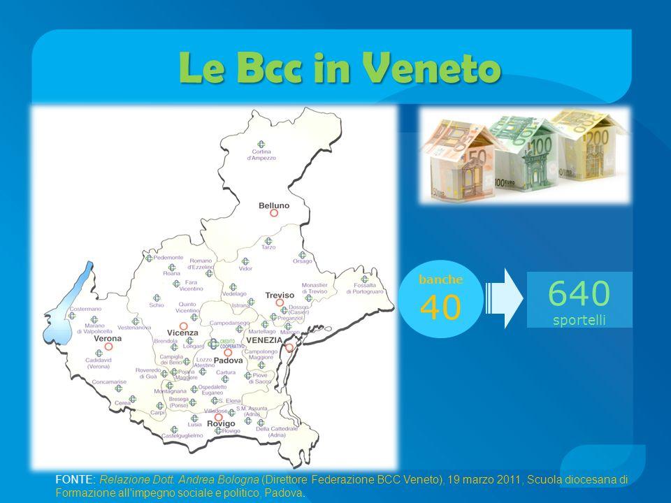 Le Bcc in Veneto 40 640 sportelli banche