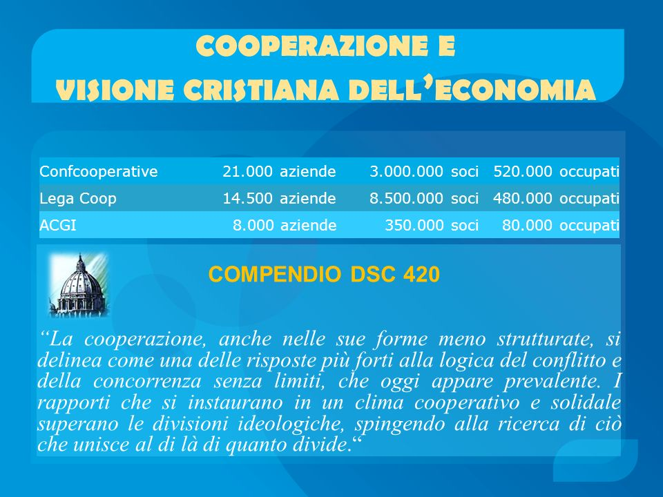 cooperazione e visione cristiana dell'economia