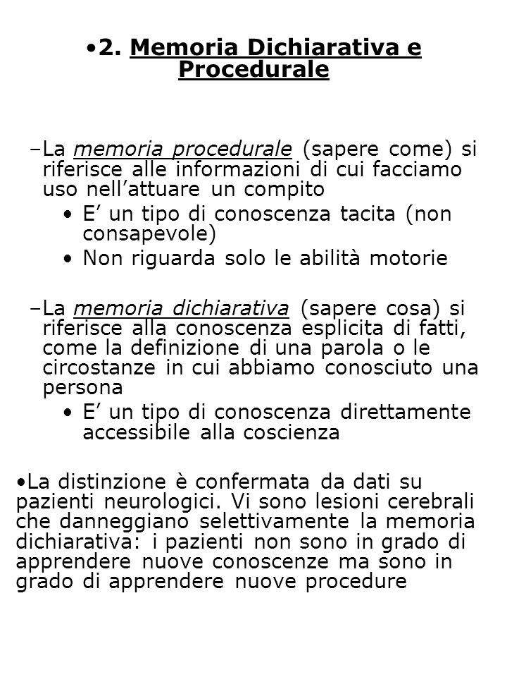 2. Memoria Dichiarativa e Procedurale