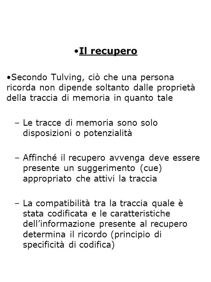 Il recupero Secondo Tulving, ciò che una persona ricorda non dipende soltanto dalle proprietà della traccia di memoria in quanto tale.
