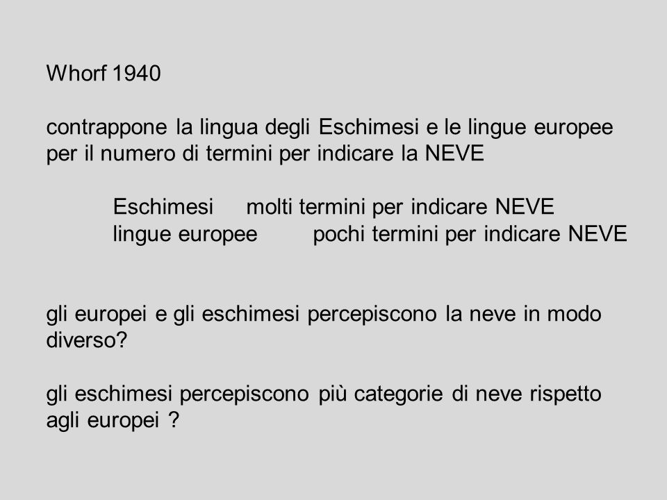 Whorf 1940contrappone la lingua degli Eschimesi e le lingue europee. per il numero di termini per indicare la NEVE.