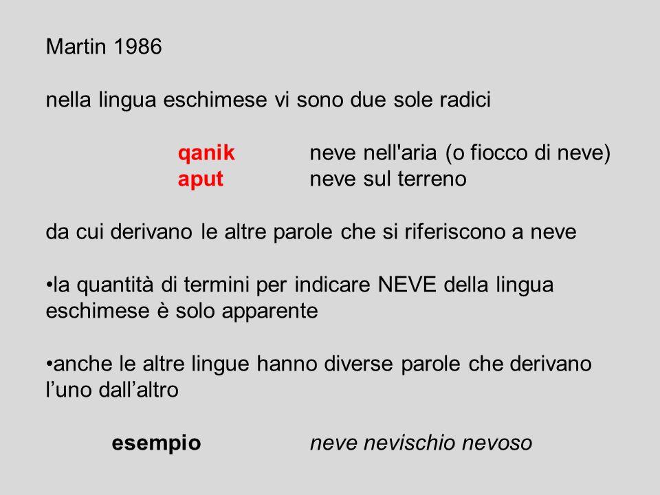 Martin 1986 nella lingua eschimese vi sono due sole radici. qanik neve nell aria (o fiocco di neve)