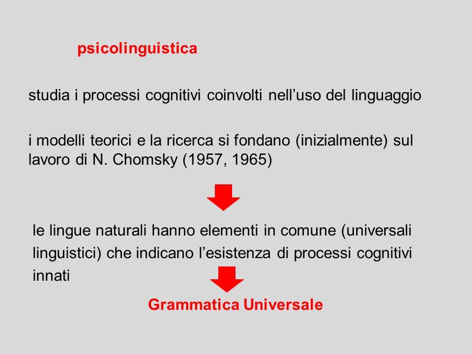 psicolinguistica studia i processi cognitivi coinvolti nell'uso del linguaggio.