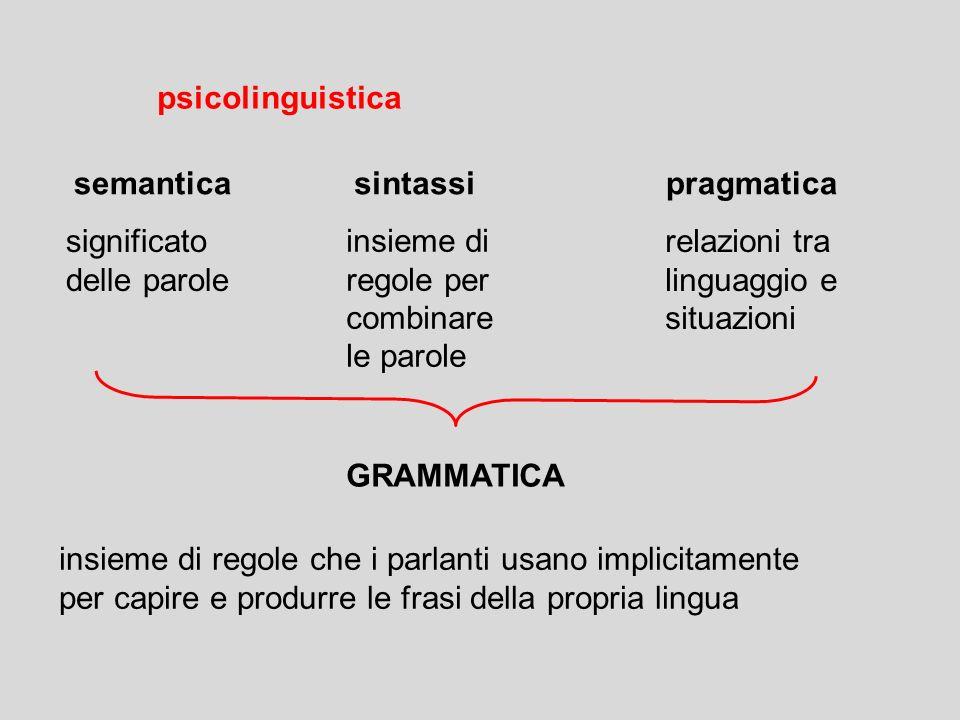 psicolinguistica semantica. sintassi. pragmatica. significato. delle parole. insieme di. regole per.
