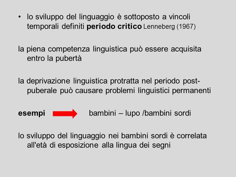 lo sviluppo del linguaggio è sottoposto a vincoli temporali definiti periodo critico Lenneberg (1967)