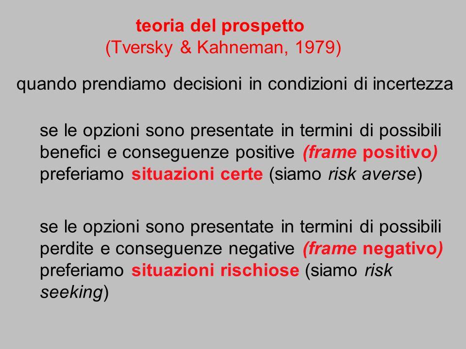 teoria del prospetto (Tversky & Kahneman, 1979) quando prendiamo decisioni in condizioni di incertezza.