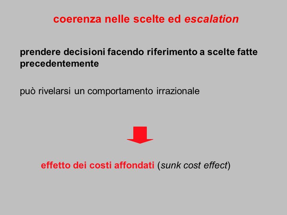 coerenza nelle scelte ed escalation