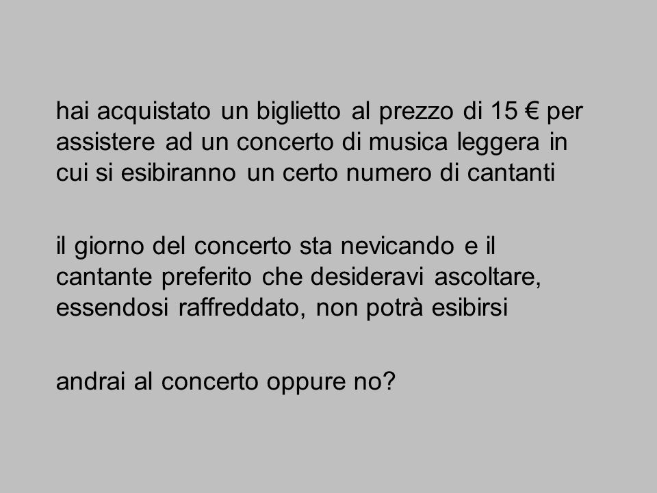 hai acquistato un biglietto al prezzo di 15 € per assistere ad un concerto di musica leggera in cui si esibiranno un certo numero di cantanti