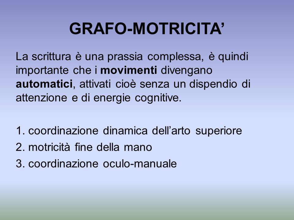 GRAFO-MOTRICITA'