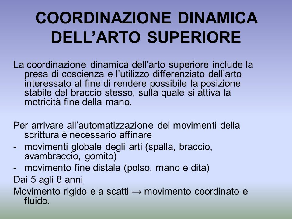 COORDINAZIONE DINAMICA DELL'ARTO SUPERIORE