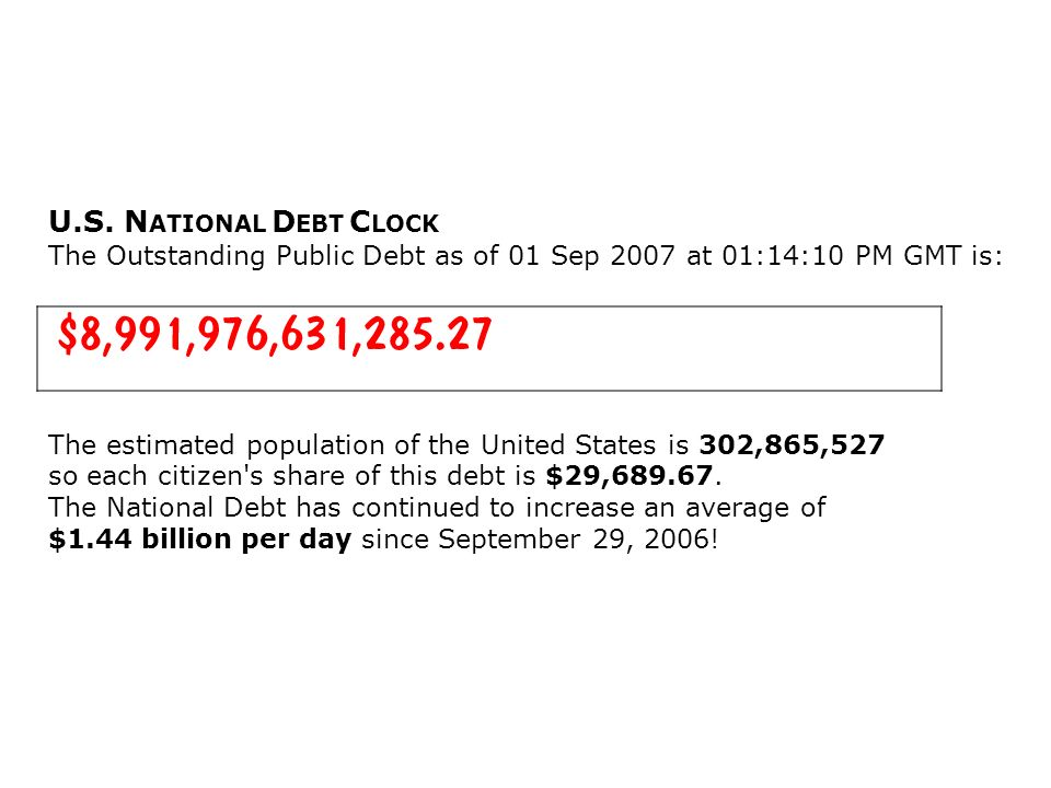 U.S. NATIONAL DEBT CLOCK The Outstanding Public Debt as of 01 Sep 2007 at 01:14:10 PM GMT is: