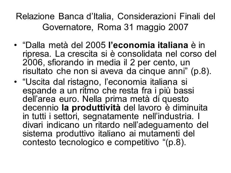 Relazione Banca d'Italia, Considerazioni Finali del Governatore, Roma 31 maggio 2007