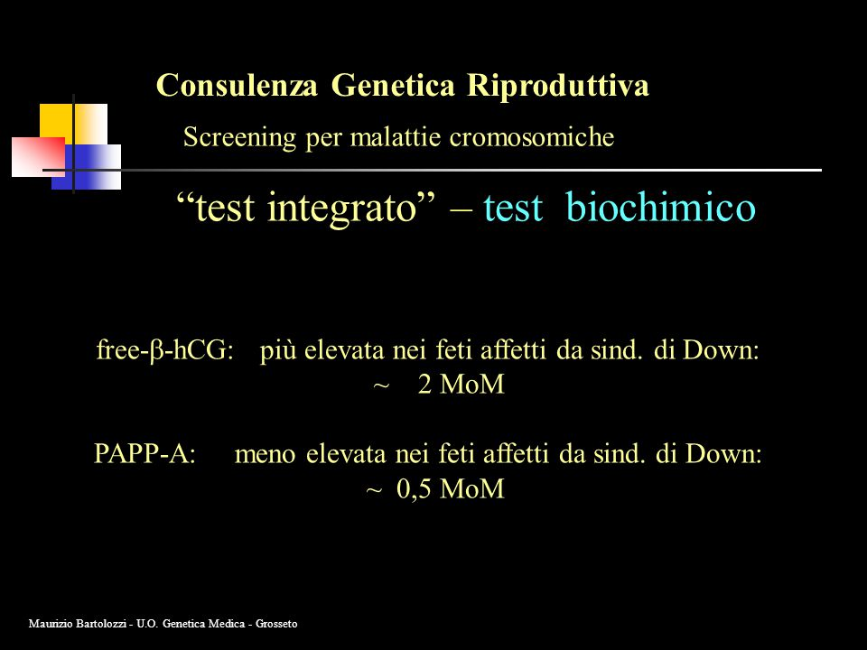 test integrato – test biochimico