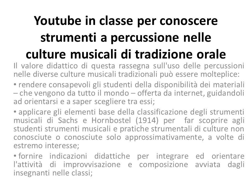 Youtube in classe per conoscere strumenti a percussione nelle culture musicali di tradizione orale