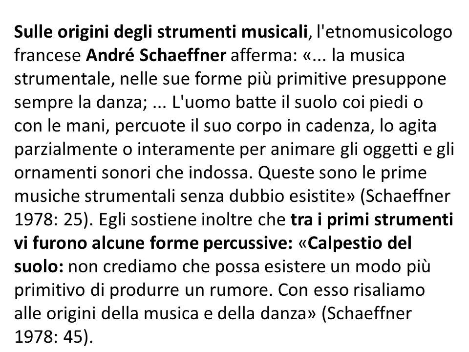 Sulle origini degli strumenti musicali, l etnomusicologo francese André Schaeffner afferma: «...