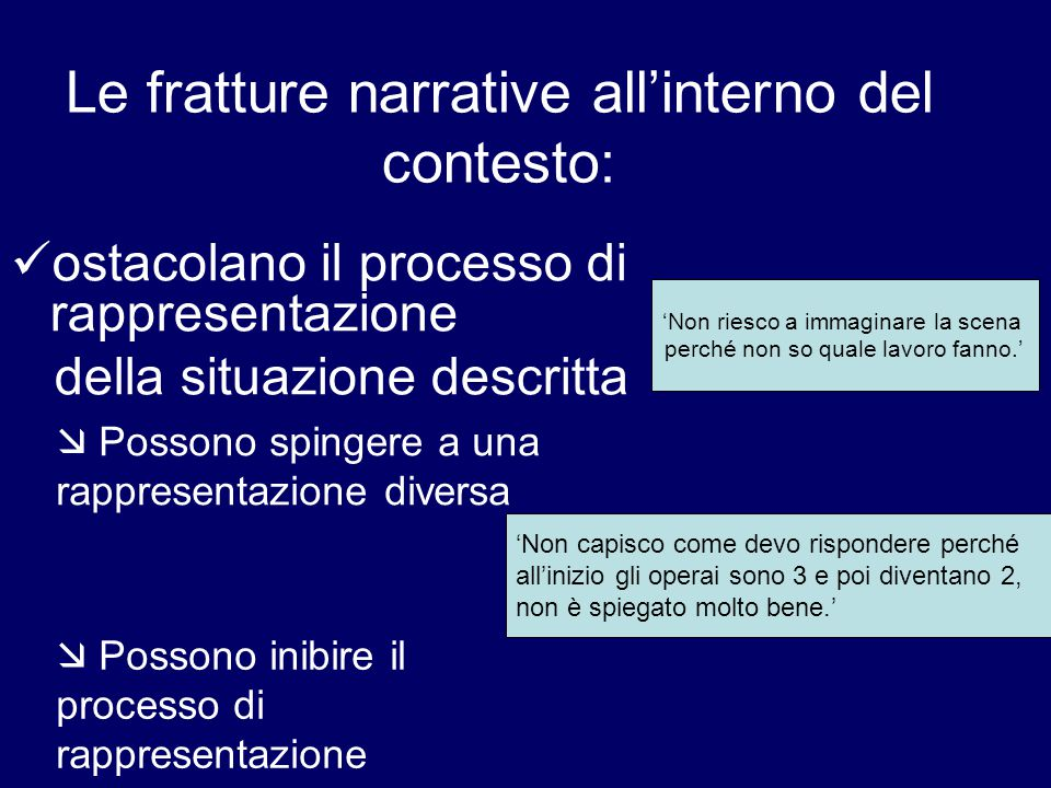 Le fratture narrative all'interno del contesto: