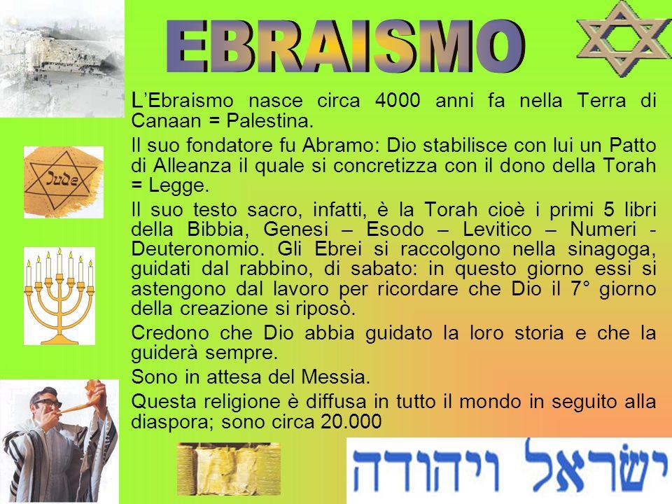 EBRAISMO L'Ebraismo nasce circa 4000 anni fa nella Terra di Canaan = Palestina.
