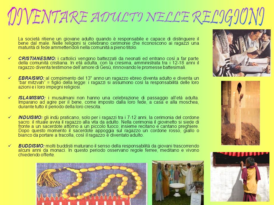DIVENTARE ADULTI NELLE RELIGIONI