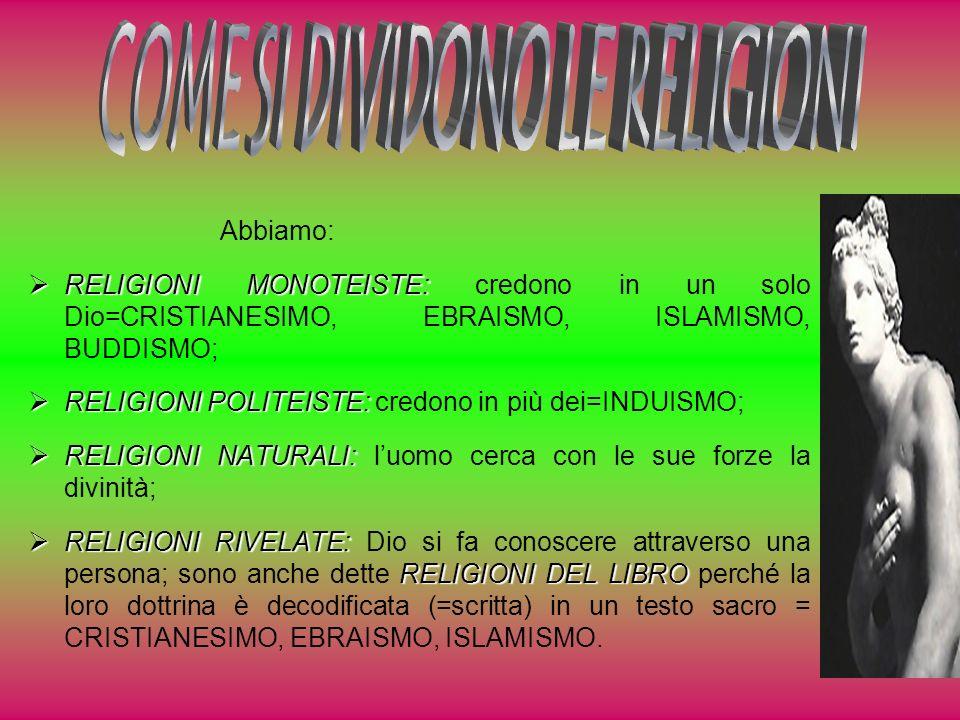 COME SI DIVIDONO LE RELIGIONI
