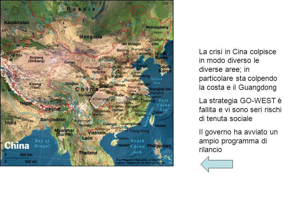 La crisi in Cina colpisce in modo diverso le diverse aree; in particolare sta colpendo la costa e il Guangdong