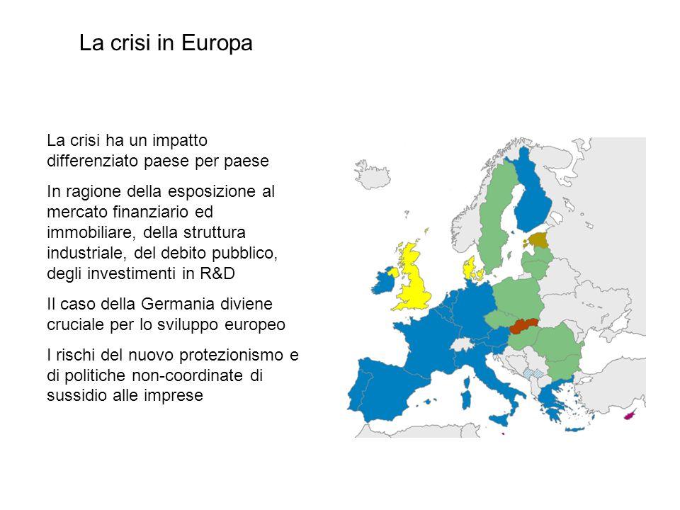 La crisi in Europa La crisi ha un impatto differenziato paese per paese.