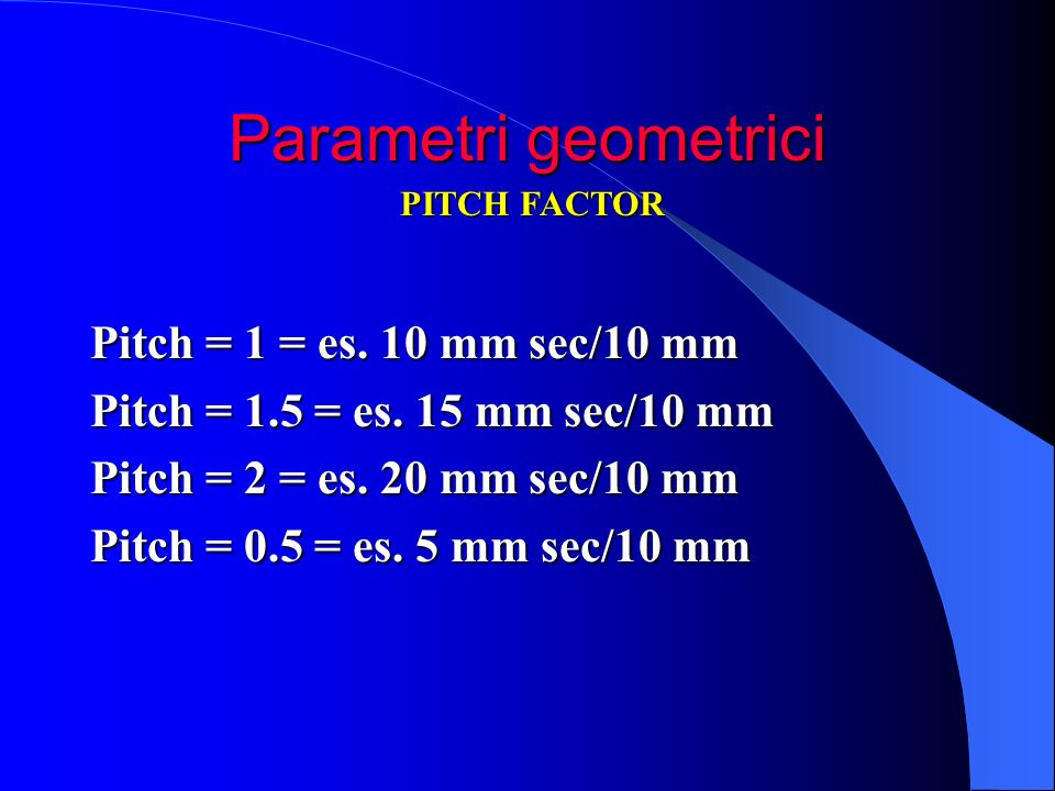 Parametri geometrici Pitch = 1 = es. 10 mm sec/10 mm