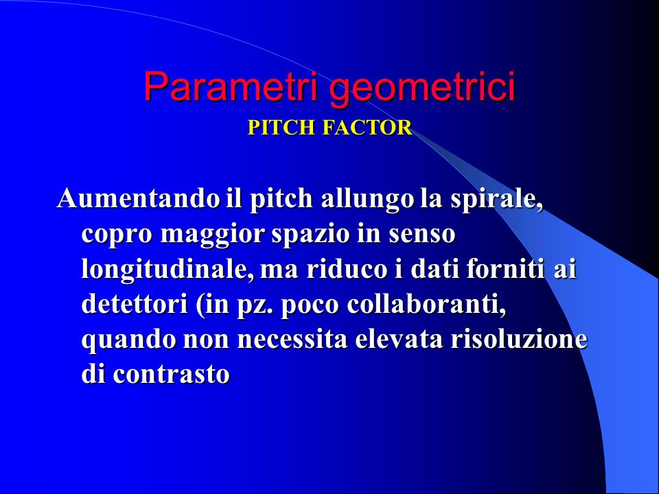 Parametri geometrici PITCH FACTOR.