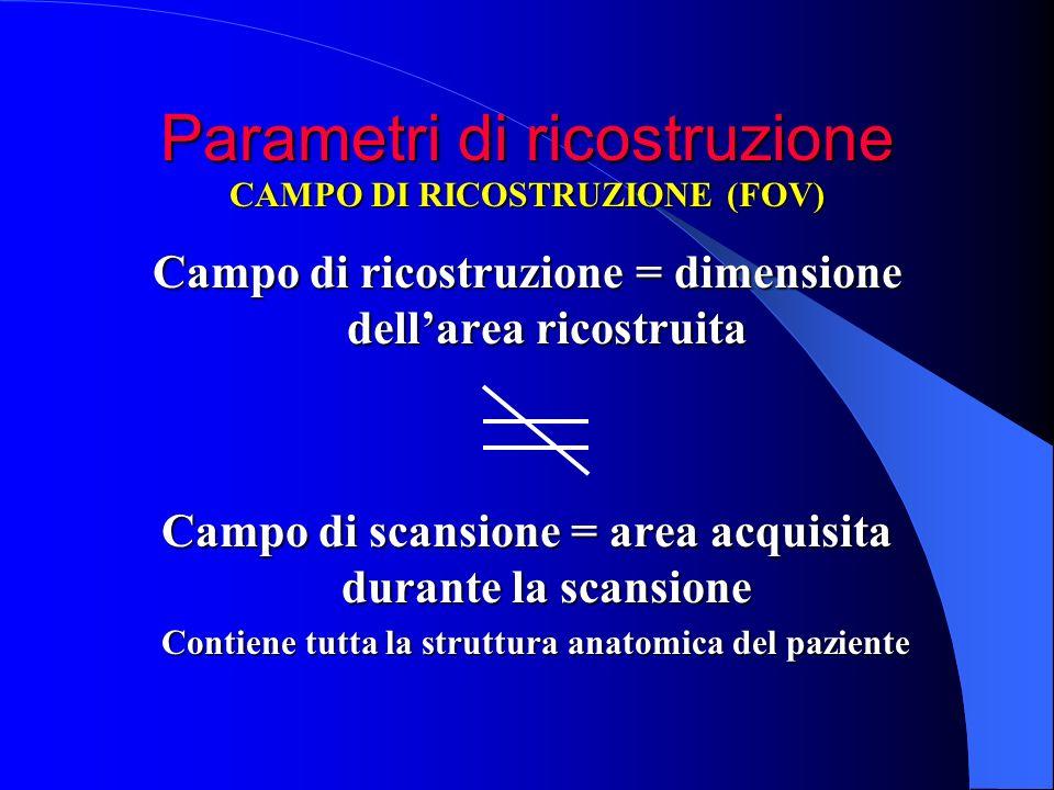 Parametri di ricostruzione