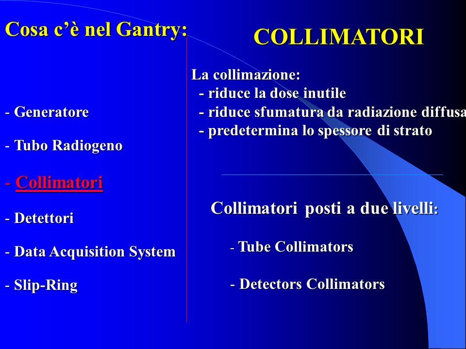 COLLIMATORI Cosa c'è nel Gantry: Collimatori Generatore Tubo Radiogeno