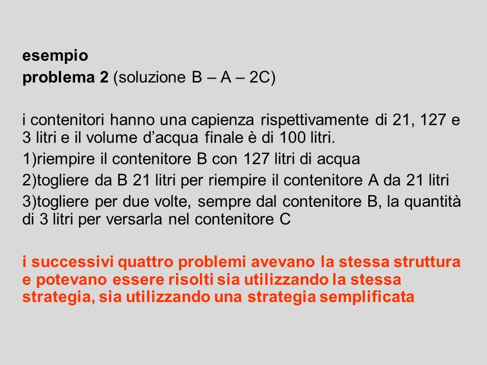 esempio problema 2 (soluzione B – A – 2C)
