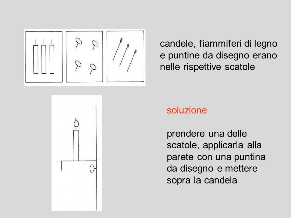 candele, fiammiferi di legno e puntine da disegno erano nelle rispettive scatole
