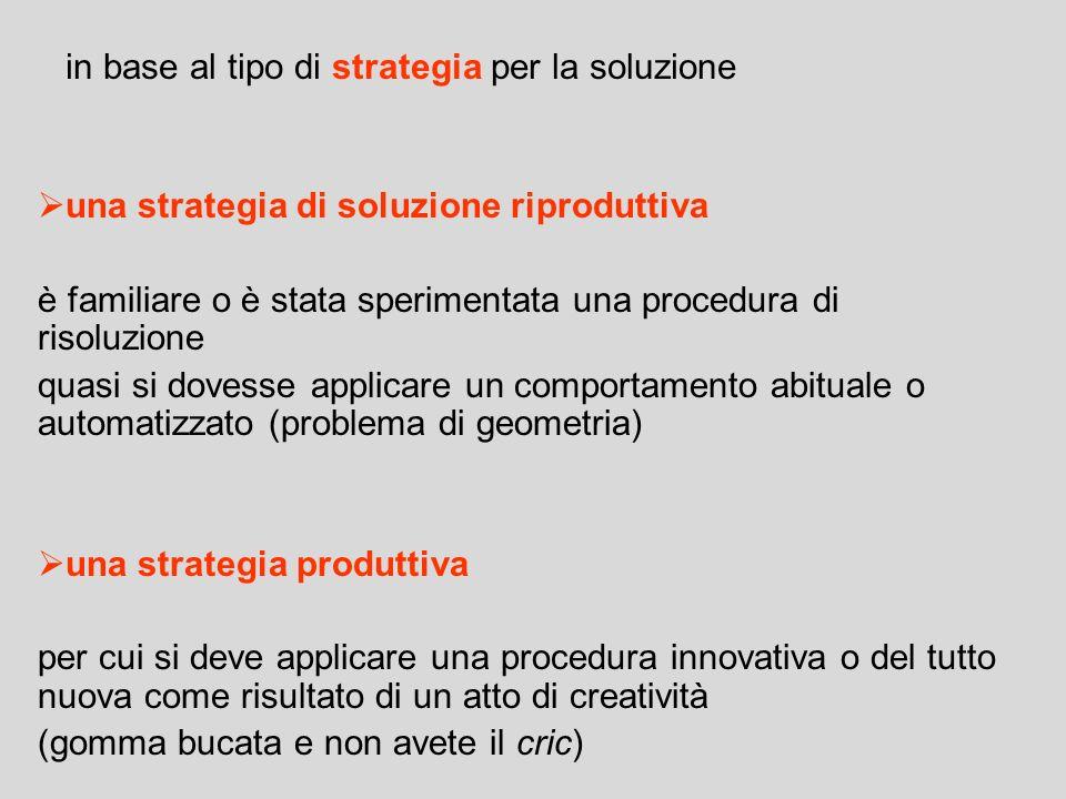in base al tipo di strategia per la soluzione