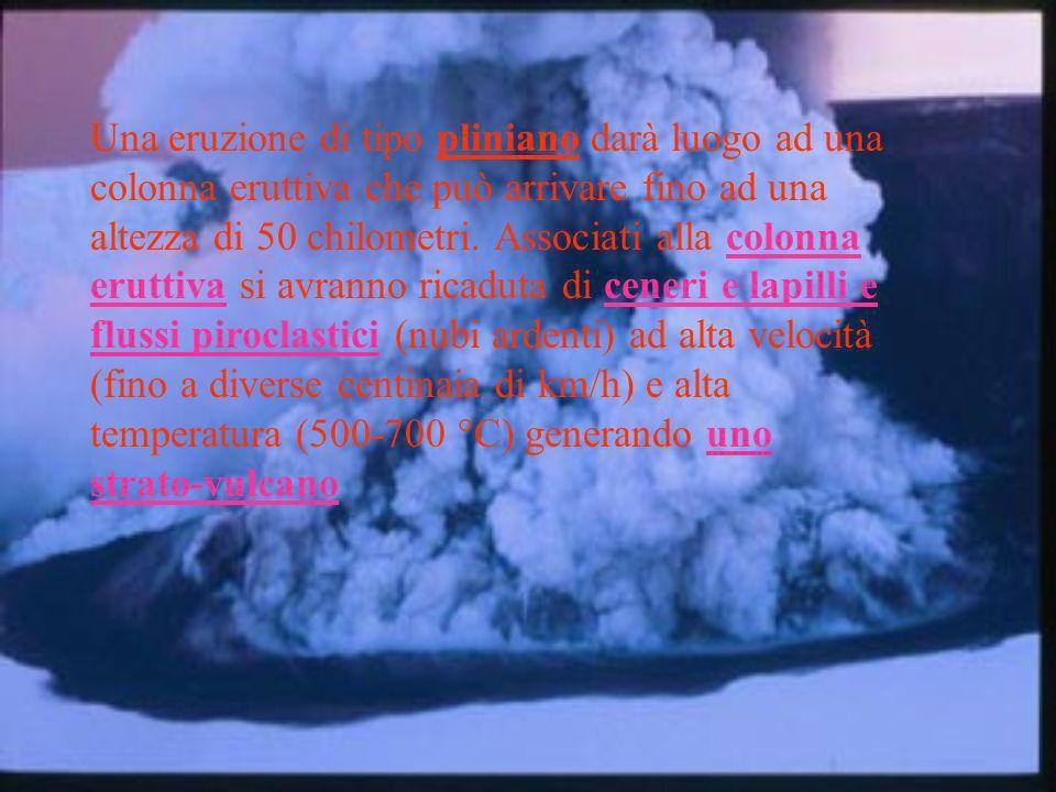 Una eruzione di tipo pliniano darà luogo ad una colonna eruttiva che può arrivare fino ad una altezza di 50 chilometri.