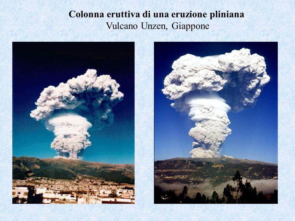 Colonna eruttiva di una eruzione pliniana Vulcano Unzen, Giappone