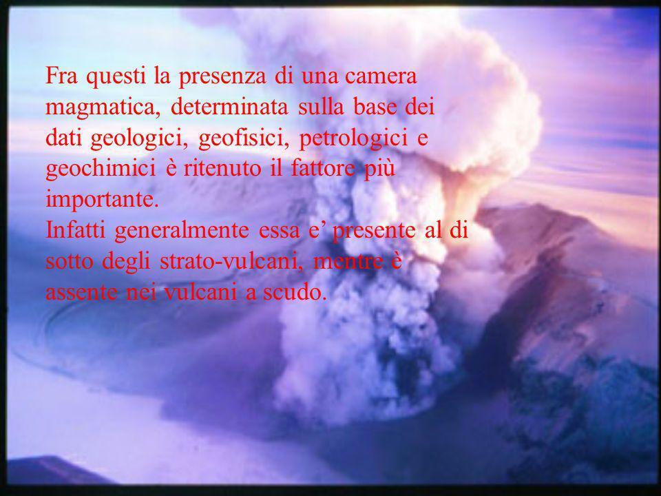 Fra questi la presenza di una camera magmatica, determinata sulla base dei dati geologici, geofisici, petrologici e geochimici è ritenuto il fattore più importante.