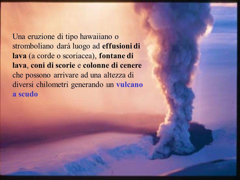 Una eruzione di tipo hawaiiano o stromboliano darà luogo ad effusioni di lava (a corde o scoriacea), fontane di lava, coni di scorie e colonne di cenere che possono arrivare ad una altezza di diversi chilometri generando un vulcano a scudo