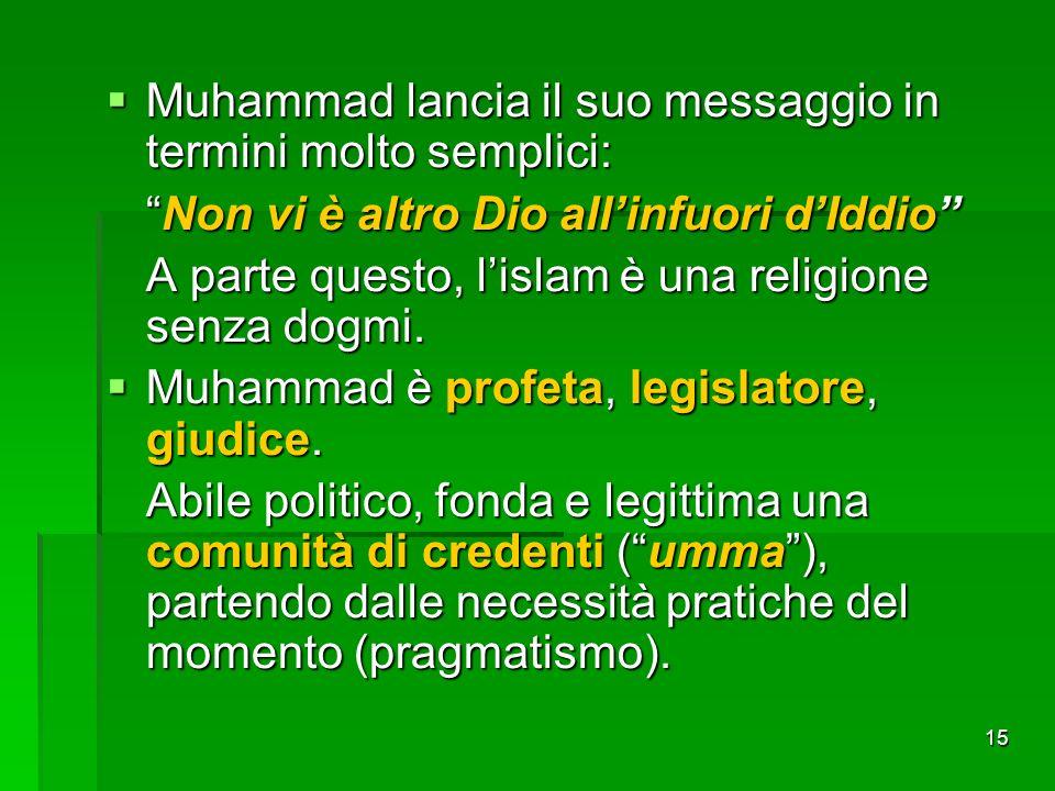 Muhammad lancia il suo messaggio in termini molto semplici: