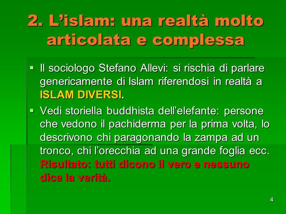 2. L'islam: una realtà molto articolata e complessa