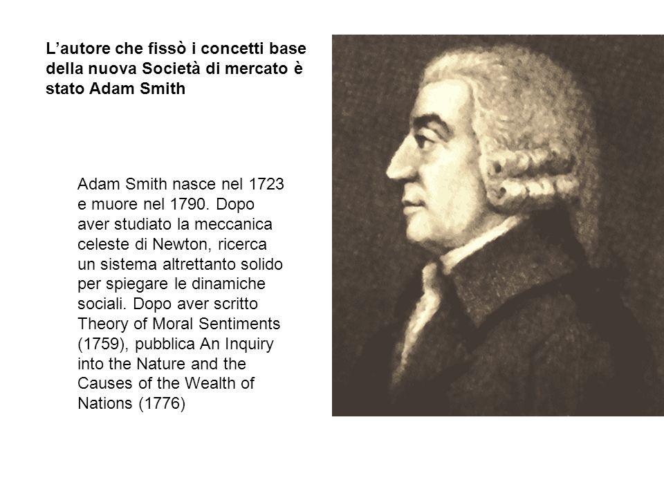 L'autore che fissò i concetti base della nuova Società di mercato è stato Adam Smith