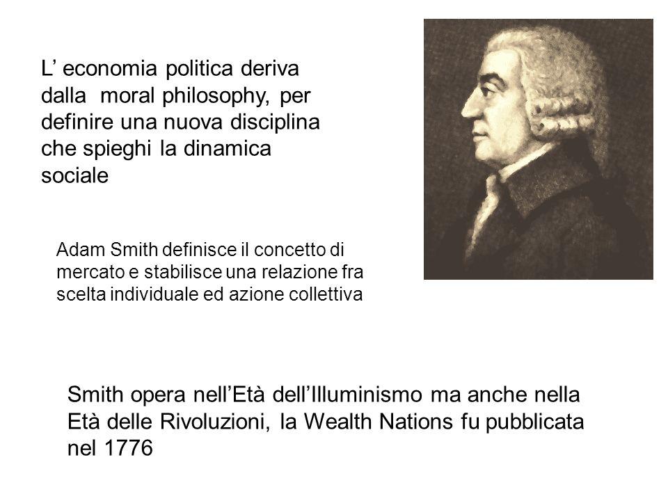 L' economia politica deriva dalla moral philosophy, per definire una nuova disciplina che spieghi la dinamica sociale