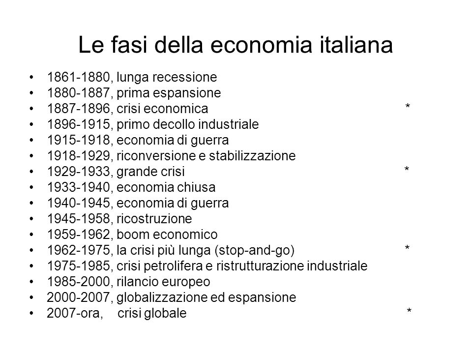 Le fasi della economia italiana