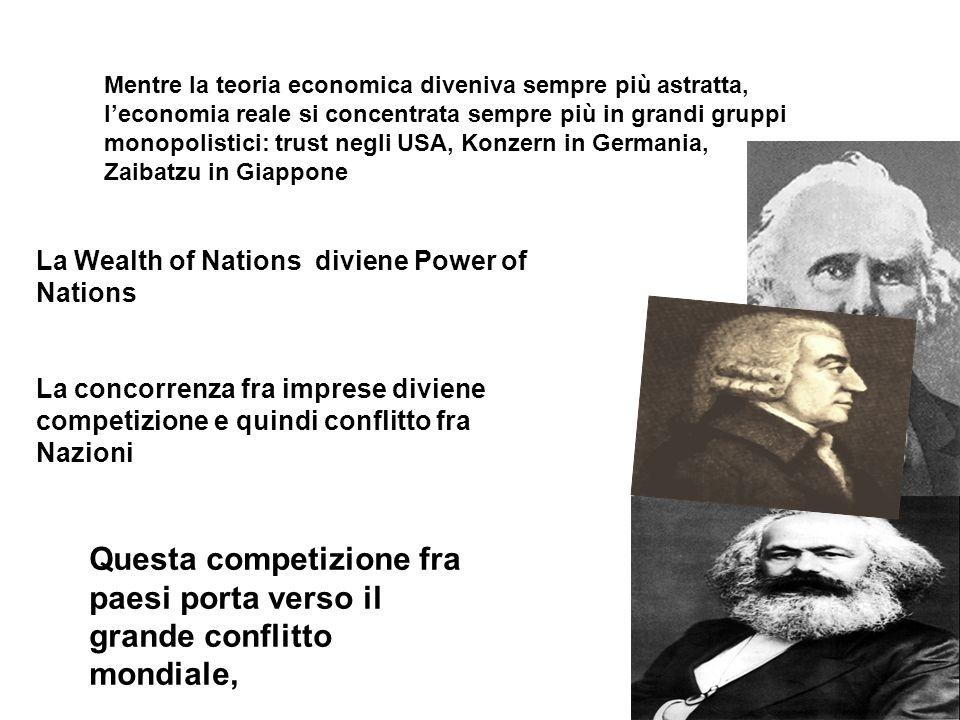 Mentre la teoria economica diveniva sempre più astratta, l'economia reale si concentrata sempre più in grandi gruppi monopolistici: trust negli USA, Konzern in Germania, Zaibatzu in Giappone
