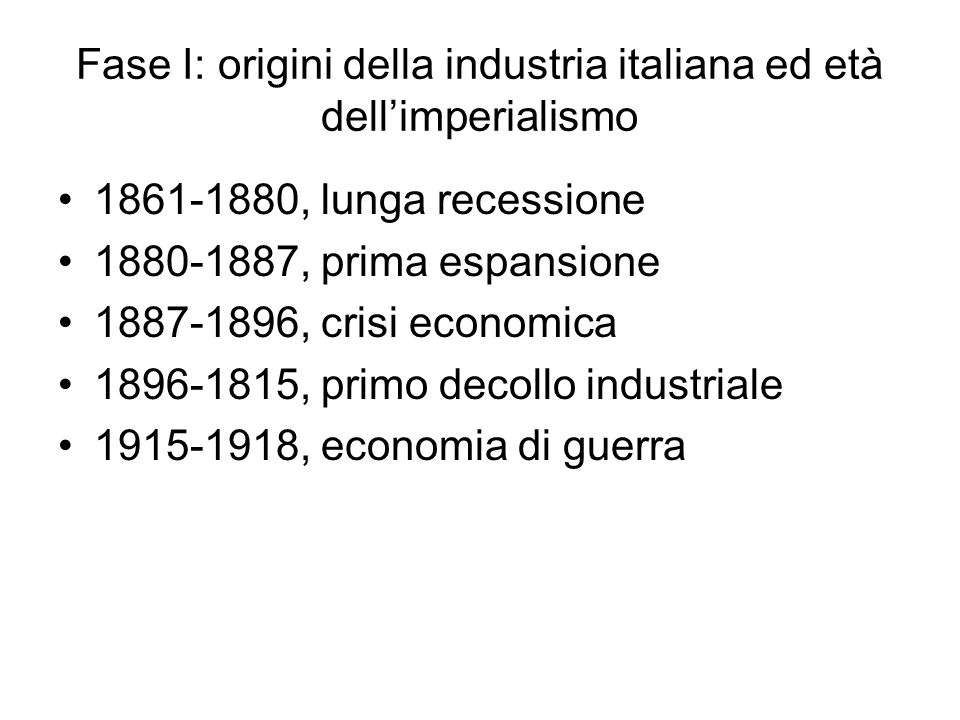 Fase I: origini della industria italiana ed età dell'imperialismo