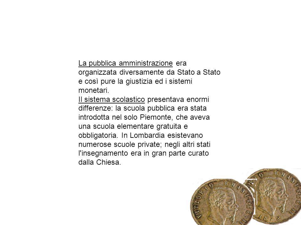 La pubblica amministrazione era organizzata diversamente da Stato a Stato e così pure la giustizia ed i sistemi monetari.
