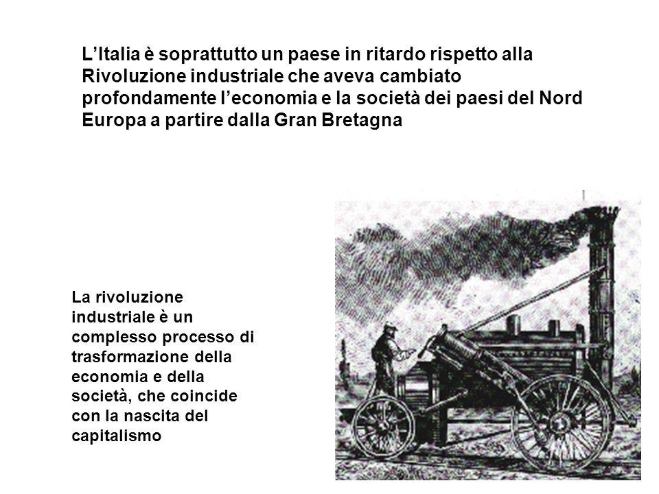 L'Italia è soprattutto un paese in ritardo rispetto alla Rivoluzione industriale che aveva cambiato profondamente l'economia e la società dei paesi del Nord Europa a partire dalla Gran Bretagna