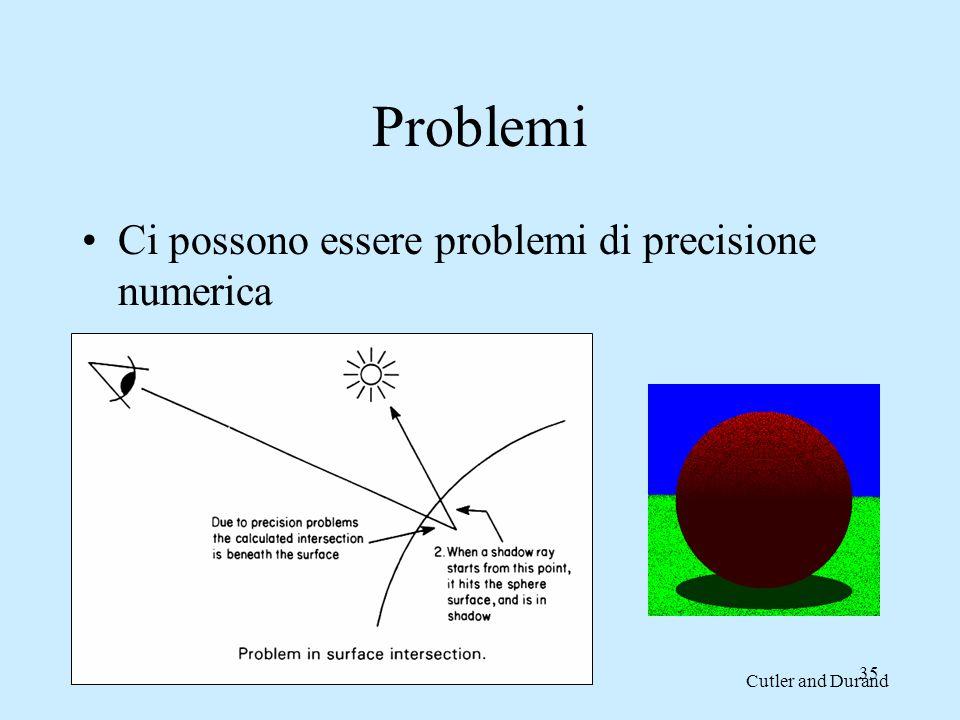 Problemi Ci possono essere problemi di precisione numerica