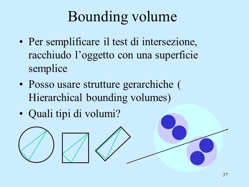 Bounding volume Per semplificare il test di intersezione, racchiudo l'oggetto con una superficie semplice.